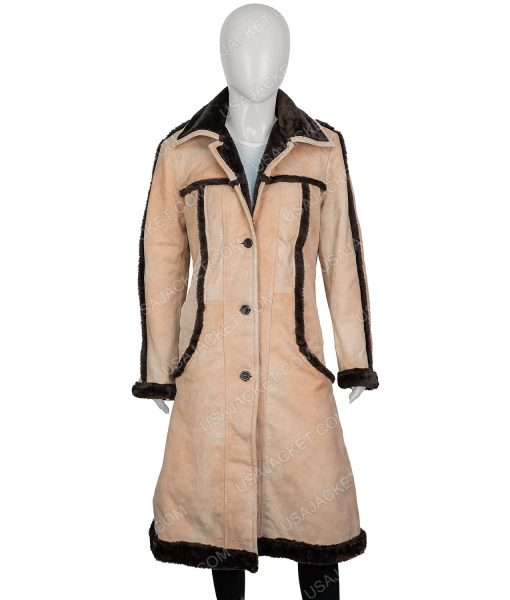 Yellowstone Kelly Reilly Brown Long Leather Coat With Shearling Trim