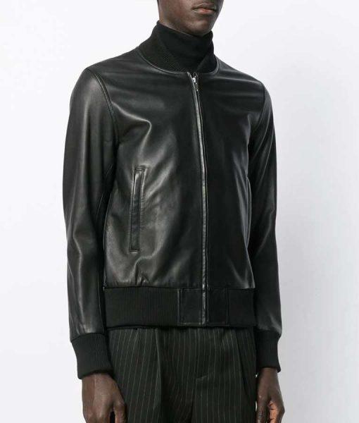 Adam Pålsson Black LeatherKurt Wallander Bomber Jacket