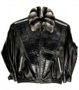 Alex Black Lambskin and Alligator trimming Jacket With Chinchilla Collar