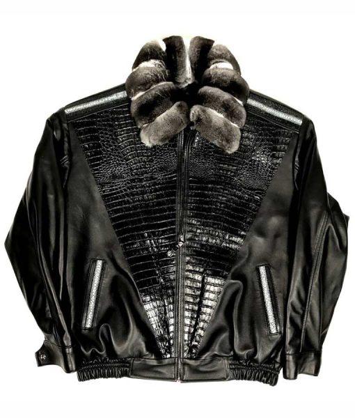 Alex Black Lambskin Jacket With Chinchilla Collar