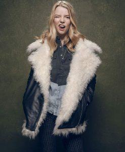 Ana Taylor Joy Black Leather Fur Jacket