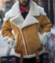 Andrew Tan Suede Leather Motorcycle Shearling Jacket