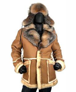 Calvin Shearling Toggled Coat With Crystal Fox Collar