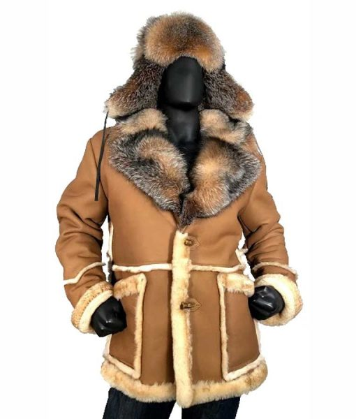 Calvin Sheepskin Shearling Toggled Coat With Crystal Fox Collar