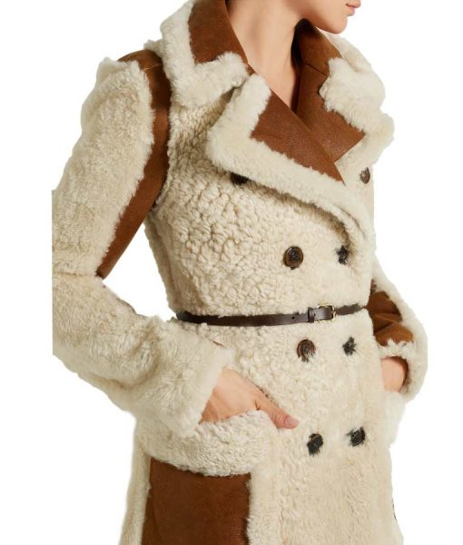 Camila Double-Breasted Shearling Maxi Coat With Chocolate Leather Belt