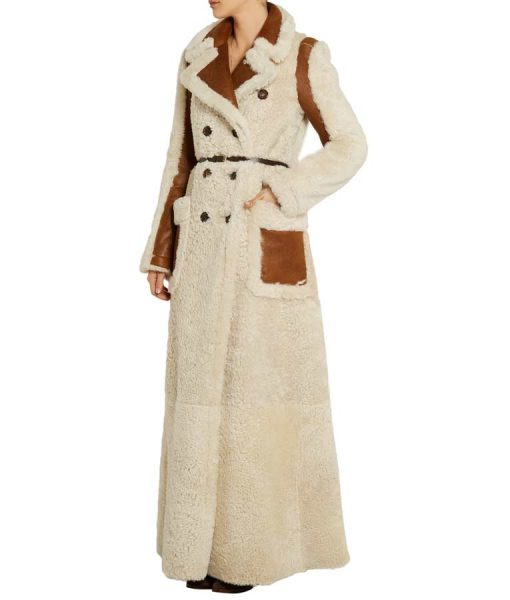 Camila Double-Breasted Shearling Coat With Chocolate Leather Belt