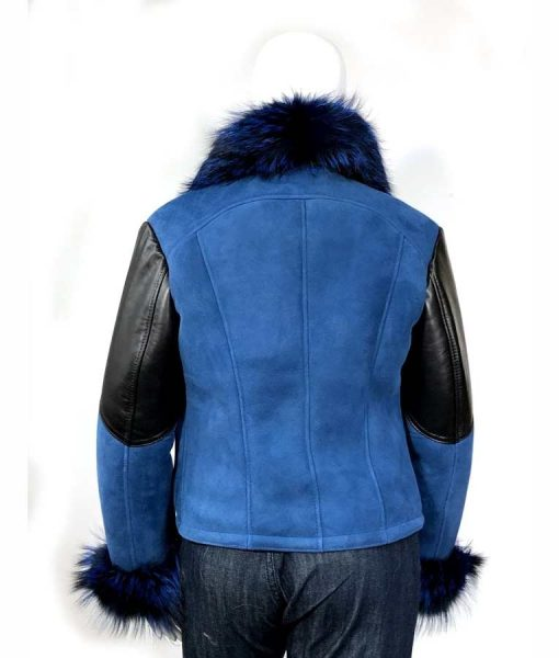Elizabeth Sheepskin Shearling Jacket Suede Leather With Blue Faux Fur