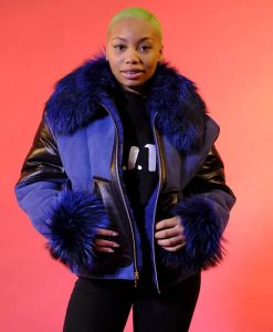 Elizabeth Sheepskin Shearling Jacket With Blue Faux Fur