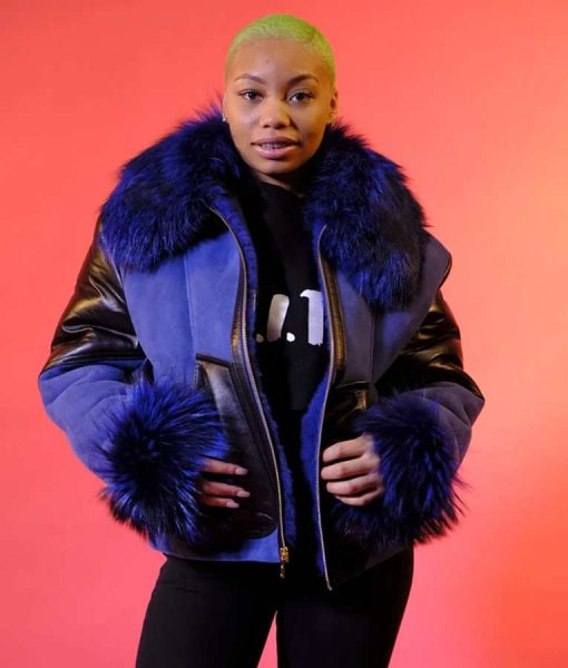 Elizabeth Sheepskin Shearling Jacket With Blue Fur