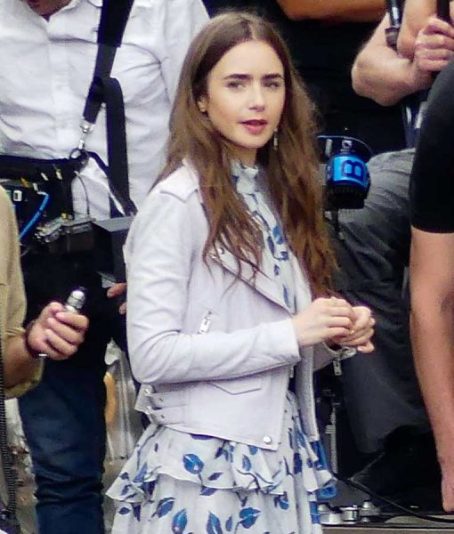 Emily in Paris Lily Collins Emily Motorcycle Leather Jacket
