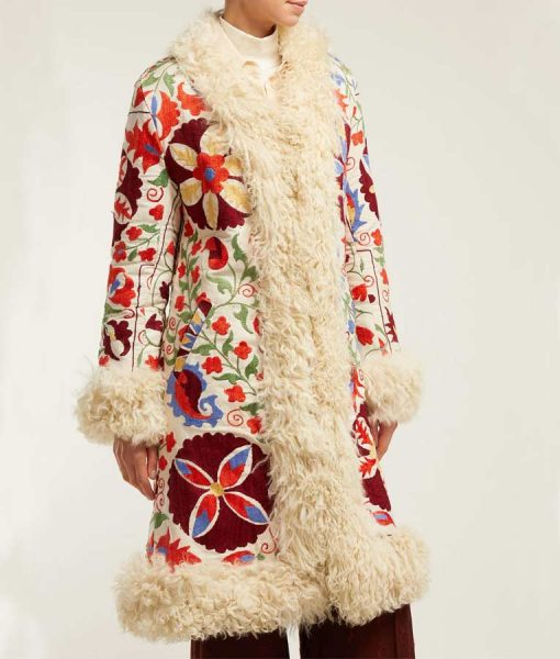 Floral Embroidered Shearling Coat