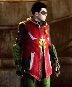 Tim Drake Gotham Knights Robin Leather Jacket With Hood