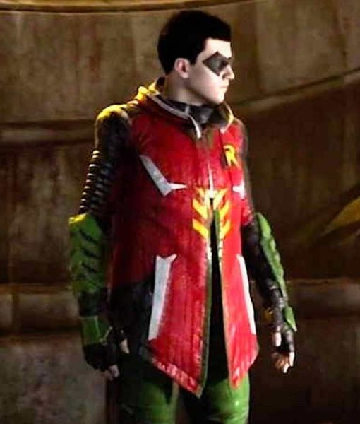 Gotham Knights Robin Leather Hooded Jacket