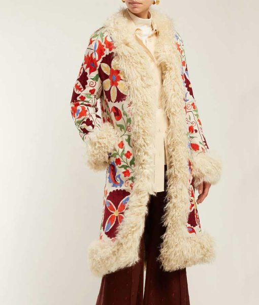 Hannah Floral Embroidered Shearling Trench Coat