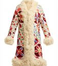 Hannah Floral Embroidered Shearling Coat