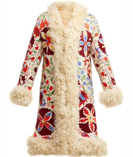 Hannah Colorful Floral Embroidered Shearling Coat