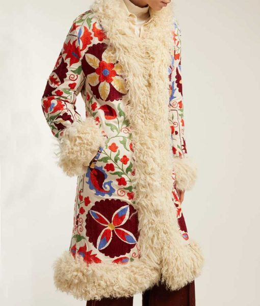 Hannah Embroidered Shearling Coat