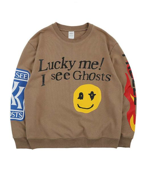 Kids See Ghost Smile Face Oversize Sweatshirt