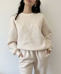 Peace on Earth White Embroidery Sweatshirt