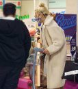 Pixie Lott White Shearling Teddy Bear Trench Coat