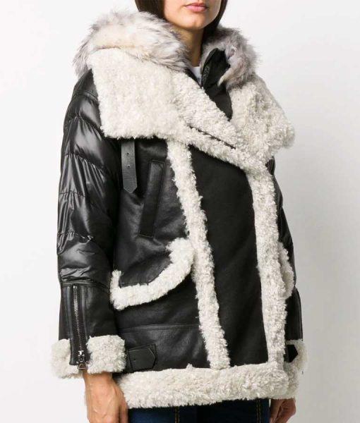 Samantha Shearling Black Padded Jacket With Fur Hood