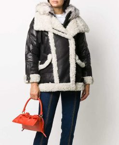 Samantha Shearling Black Padded Jacket With Hood