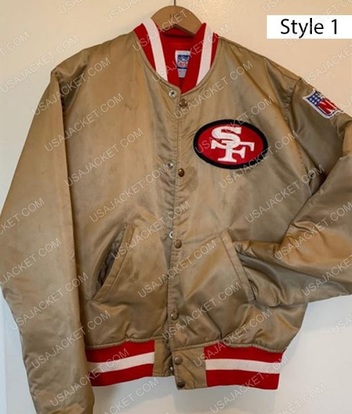 San Francisco 49ers Gold Satin Bomber Jacket