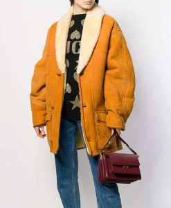 Scarlett Suede Leather Mid-Length Shearling Coat