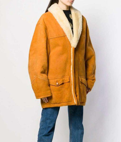 Scarlett Shearling Mid-Length Coat