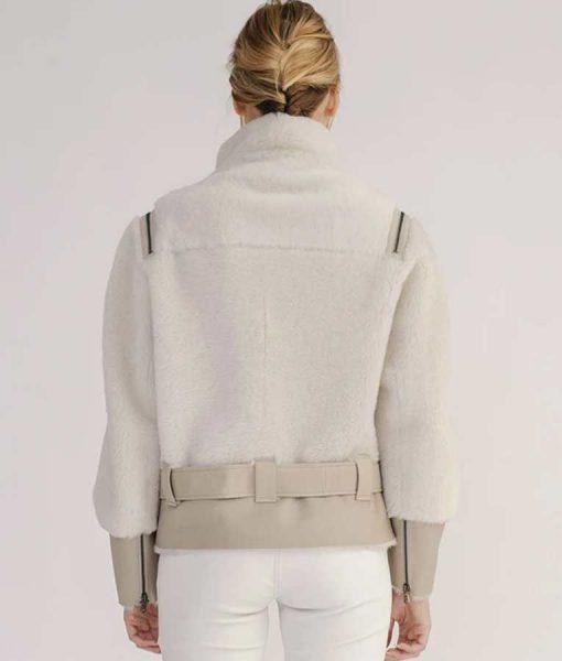 Women's Shearling Short Biker Jacket With Leather Belt