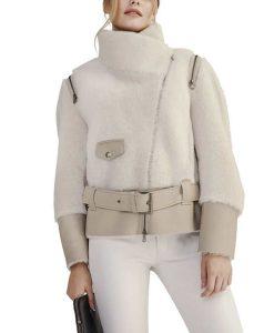 Shearling Short Biker Jacket With Leather Belt