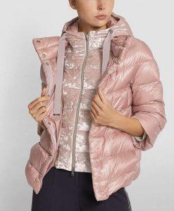 Light Pink Puffer Velvet Jacket