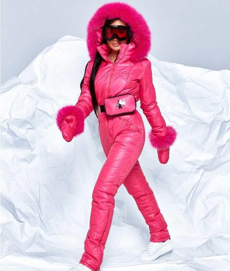 Pink Ski Jumpsuit Pink Puffer Ski Jumpsuit With Fur Hood