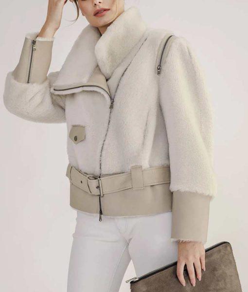 White Shearling Short Biker Jacket With Leather Belt