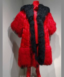 Cruella Deville Red And Black Fur Coat