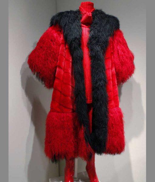 101 Dalmatians Cruella Deville Red And Black Fur Coat