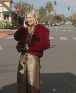 A Very Charming Christmas Town Aubrey Lang Red Fur Jacket