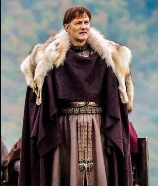 Aulus Britannia David Morrissey Fur Collar Purple Cloak Coat
