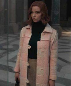 The Queen's Gambit Beth Harmon Light Pink Coat