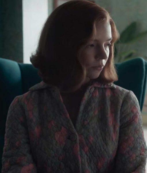 Beth Harmon The Queen's Gambit Anya Taylor-Joy Quilted Coat