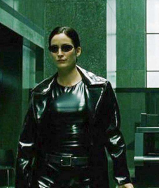 The Matrix 4 Trinity Black Leather Coat