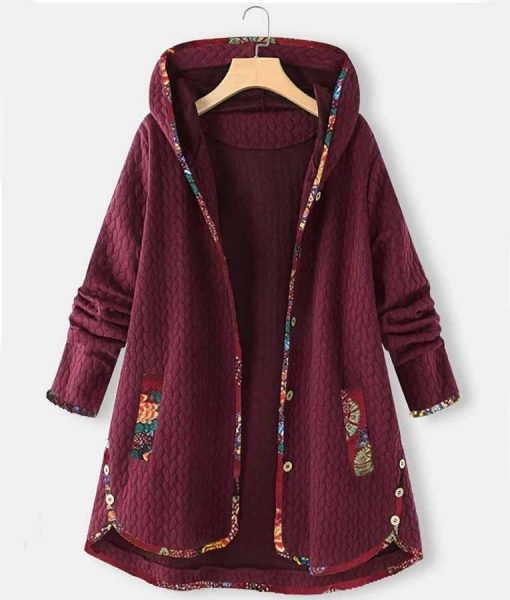 Casual Floral Print Patchwork Jacquard Hooded Coat