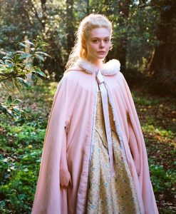 Catherine The Great Elle Fanning Pink Cloak With White Fur Trim