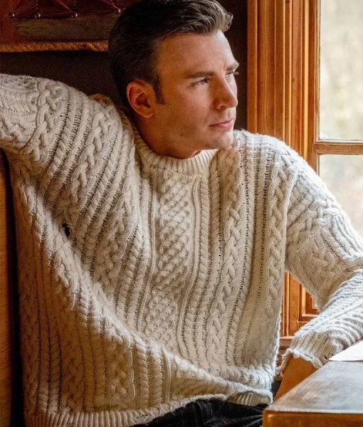 Chris Evans Knives Out Cable Knit Sweater