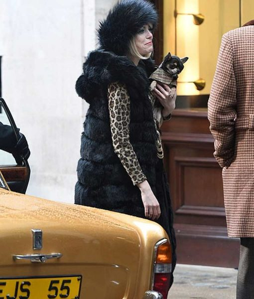 Cruella 2021 Cruella Deville Emma Stone Black Fluffy Bubble Sleeveless Coat