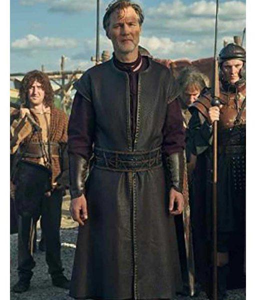 David Morrissey Britannia Season 03 Aulus Black Leather Coat
