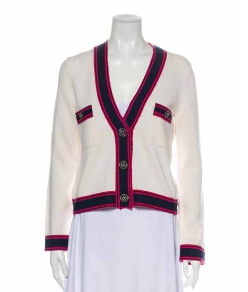 Emily Cooper Emily In Paris Lily Collins White & Pink-Blue Contrast Cardigan