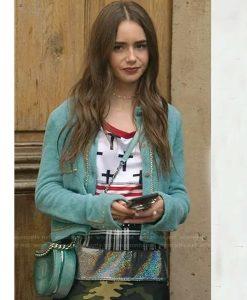 Emily In Paris Emily Cooper Blue Chain Trim Cardigan