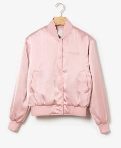 Emily In Paris Emily Cooper Satin Bomber Pink Jacket