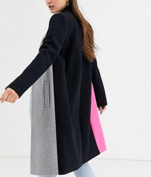 Emily In Paris Lily Collins Color Block Coat
